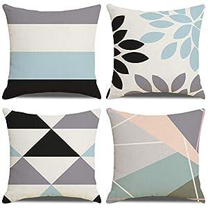 LAXEUYO Funda de Cojín,algodón Lino Cojines Decorativos para Sofa Fundas Cojines 45x45 cojin Azul