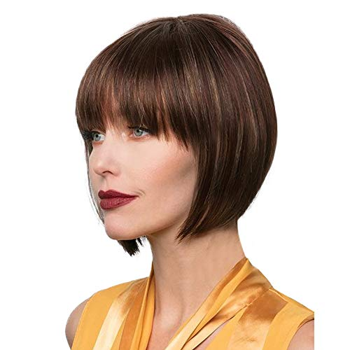 Emmor Short Brown Bob Human Hair Wigs for WomenNatural Real Hair Wig With Highlight Daily Use/Lightweight/Breathable/Soft P4/30