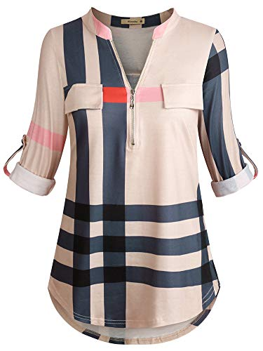 Women's Zip Front V-Neck 3/4 Sleeve Tunic Casual Top Apricot X-Large