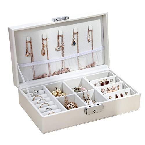 Organizador de joyas de cuero anillo colgante pendientes collar caja de almacenamiento mujeres joyería cajas cosméticos belleza contenedor caso