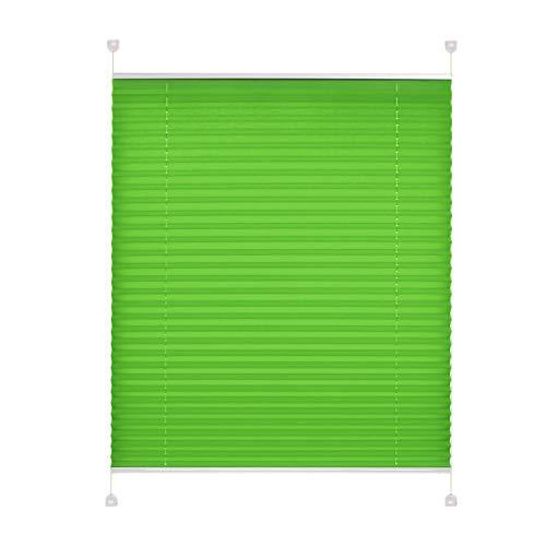 TODAMI Plissee Klemmfix ohne Bohren Jalousie Faltrollo Rollo Sichtschutz Grassgrün 85 cm x 220 cm