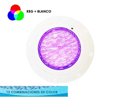 Foco de Piscina 25W LED RGB Montaje en Superficie, sin Obra - 12 Funciones de Colores - 2250 lumens {Requiere Mando a Distancia} (1 Foco + 1 Mando)