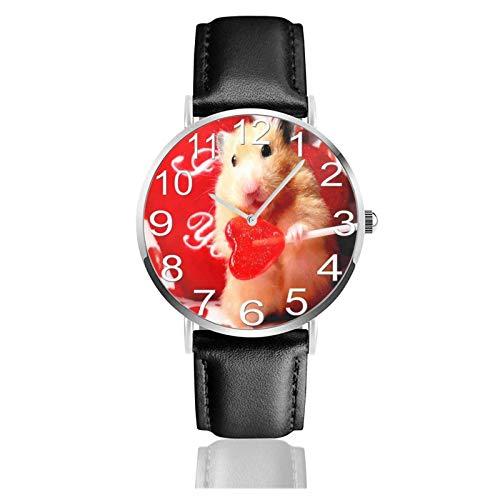 Reloj de Pulsera Lolly Heart Candy Hamster Durable PU Correa de Cuero Relojes de Negocios de Cuarzo Reloj de Pulsera Informal Unisex