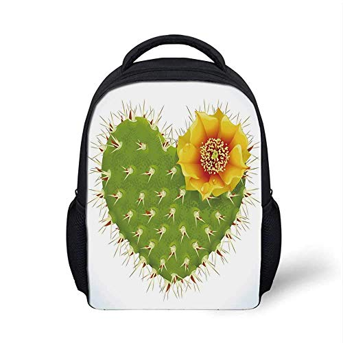Kids School Backpack Cactus Decor Stylish,Thorny Cactus in The Shape of Heart and Yellow Flower Opuntia Spikes Decorative for School Travel,9.4