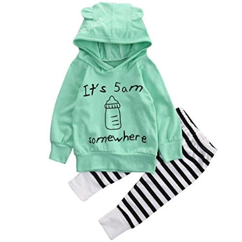 Fille Ensemble de Vêtements,LMMVP Bébé Sweatshirt Top + Longue Pantalon Vêtements Costumes 0-24 Mois (100(18-24M), Vert)