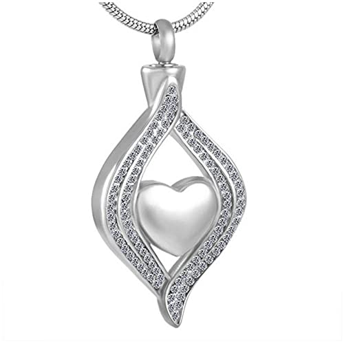 Wxcvz Collar De Urna De Cremación Ojo De Mi Corazón Collar con Colgante De Urna Collar De Cremación De Recuerdo De Cenizas De Acero Inoxidable para Mujeres