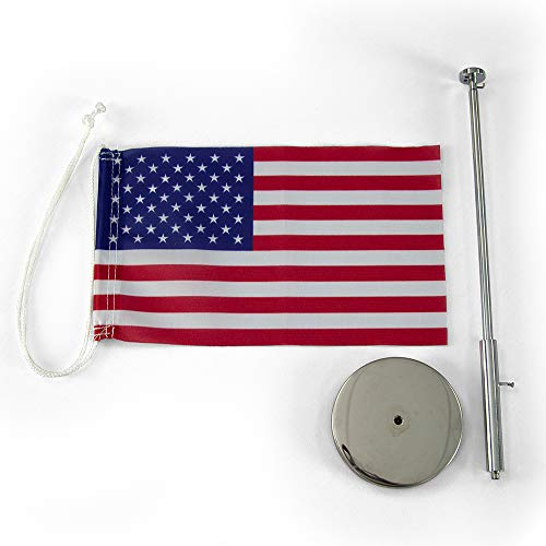 Vispronet Miniature USA Desk Flag and Stand � Height Adjustable 12.6in � 19.7in Telescopic Flagpole with Weighted Base � Flag Size 9.8in x 5.9in Photo #6
