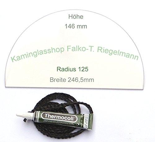 Kaminglas Sichtscheibe 4 mm passend für Bullerjan 00/01 mit Dichtungsset 1