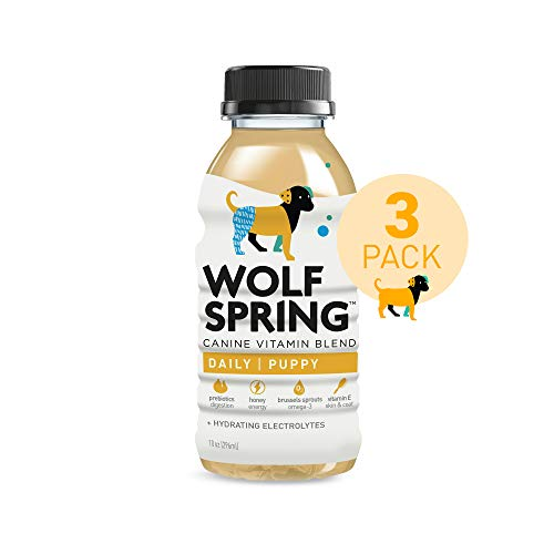 Wolf Spring All-Natural Functional Treat for Dogs, Puppy Vitamins, 100% Plant-Based Multi-Vitamin Drink for Dogs, Skin and Coat Treat for Dogs with Vitamin E, 10oz, Vitamin Pack of 3