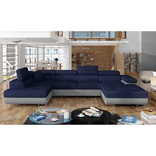 Movilier Deco Alicia – Sofá panorámico convertible en tela azul y piel sintética gris, caja de almacenamiento, ángulo derecho