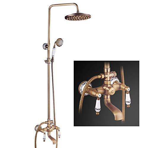 Suguword Messing Duschsystem Überkopfbrause Regendusche Duschset Handbrause Duschkopf Vintage Design Wannenauslauf Keramik Stil