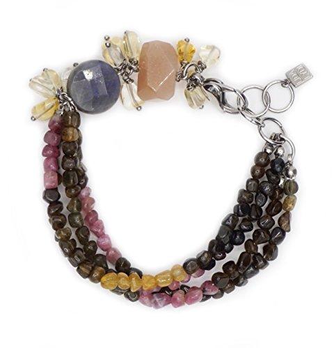 Cinturino in acciaio, con Labradorite, pietra di luna ', colore: arancione, con quarzo citrino e tormalina.