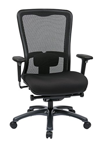 Office Star ProGrid Mesh Back and Padded Coal FreeFlex Seat, Adjustable Arms and Lumbar, Titanium Finish Base Adjustable High Back Chair, Black