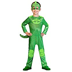 Package includes 1 green gekko jumpsuit, 1 detachable tail, and mask Featuring green Gekko jumpsuit with detachable tail and a green Gekko mask. Use this costume set for PJ masks party Match it with other party costume and accessory
