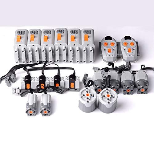 KEAYO Technic Power Functions - Juego de 8 motores, 2 mandos a distancia, 4 receptores y 6 cajas de pilas, compatible con Lego Technic