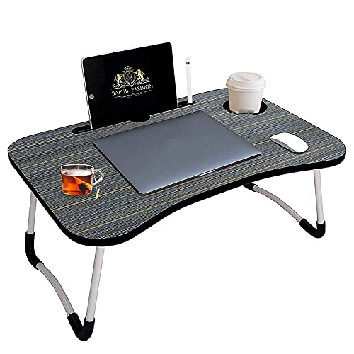 BAPU STORE PRESENT Multipurpose Foldable Laptop Table with Cup Holder | Drawer | Mac Holder | Table Holder Study Table, Breakfast Table, Foldable and Portable/Ergonomic & Rounded Edges/Non-Slip Legs