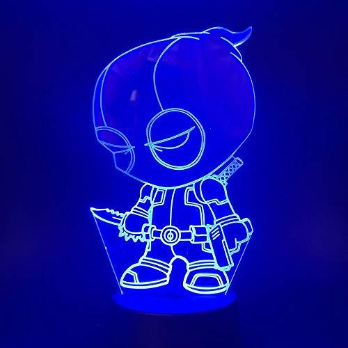 Sanzangtang Led-nachtlampje, 3D-vision-zeven, kleuren-afstandsbediening, klein nachtlampje voor kinderen, met kleurverandering, nachtlampje