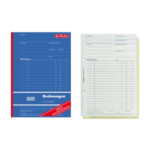 Herlitz 1932862 Rechnungs-Buch A5, 305 2x40 Blatt, selbstdurchschreibend, 4er Packung