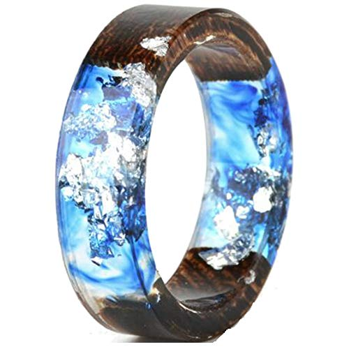 8mm Transparent Acrylic Resin Wood Ocean Style Wedding Band Anniversary Ring (Blue, 8)
