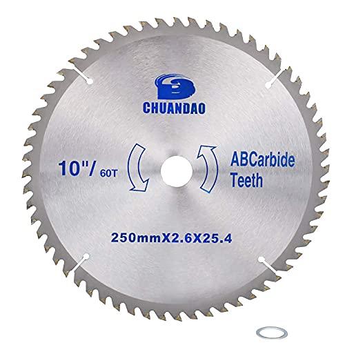 Disco de corte de madera con punta de carburo de 10 pulgadas, hoja de sierra circular de aleación con árbol de 1 pulgada para cortar madera dura y blanda