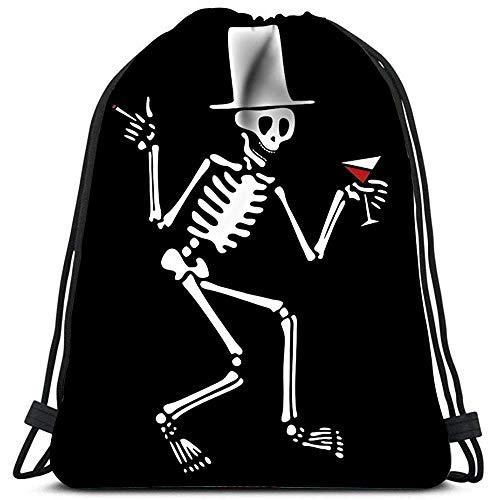 wallxxj Cinch Bags Sporttaschen Cinch-Tragetaschen Trinkskelett Mit Hut Und Zigarette Für Reisen Und Aufbewahrung Daypack Travel Cinch-Taschen Kordelzugbeutel Kordelzug-Rucksack Lässig
