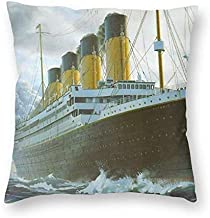 Yaateeh Titanic Ship Decorative Throw Pillow Covers 18x18 Inch Pillows Case Square Cushion Cover Cases Pillowcase with Zipper Sofa Home Decor for Couch Bed Patio Car