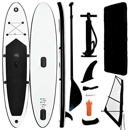 vidaXL Tabla de Paddle Surf Hinchable con Set Inflable Portátil Deporte Viaje Piscina Lago Bomba Manual Duradero Estable de Vela Negro y Blanco