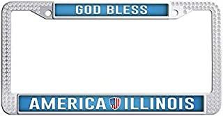 FramePro God Bless America Illinois License Plate Frame White Rhinestones Car License Plate Holder