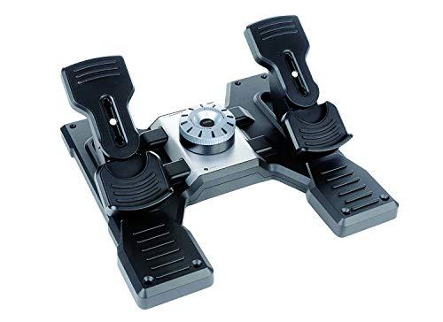 Logitech G Saitek Pro Flight Rudder Pedals, Pedale mit Zehenbremse zur Rudersteuerung für Flug Simulatoren, Rutschfest, Präzise, Verstellbares Spannungsrad, USB-Anschluss, PC - schwarz