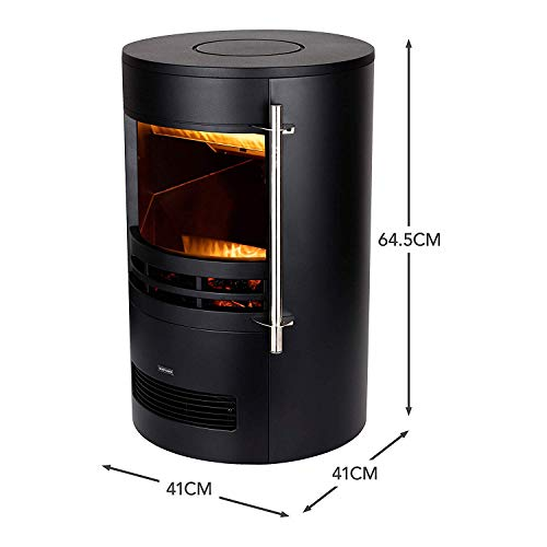 Warmlite WL46022 Elmswell Electric Curved Contemporary Freestanding Stove Fire with 3D Log Burner Flame Effect, Adjustable Thermostat and 2 Heat Settings, 1000-2000 W, Black
