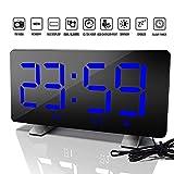 ZFSWMYSnooze USB Digital Despertador 12 / 24h Reloj Despertador FM 3 Brillo función de Reloj Digital de Moda for Office Dormitorio se (Color : Blue)