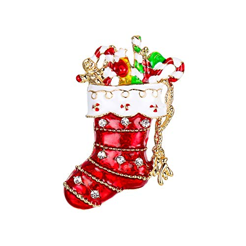 EVER FAITH Christmas Gift Austrian Crystal Lovely Red Santa Stocking Candy Cane Brooch Gold-Tone