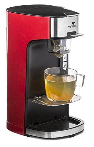 Senya macchina per tè Tea Time, teiera elettrica compatibile con tè sfuso o in sacchetto, Rosso