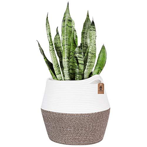 Goodpick Cesta trenzada de algodón para plantas de 28 cm, cesta de almacenamiento para la ropa o los juguetes en la habitación de los niños, 32 x 30 x 38 cm