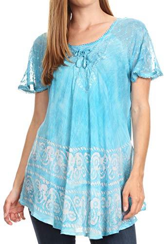 Sakkas 19218 - Camicia a Maniche Corte Sciolto Fit Donna Marzia Casual Tie Dye Camicetta Batik Top Tunica - Turchese - OS