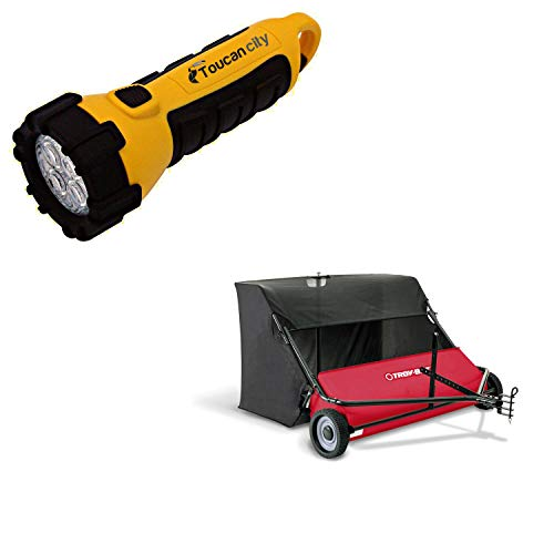 Toucan City LED Flashlight and Troy-Bilt 42 in. 22 cu. ft. Lawn Sweeper TB-4222LS