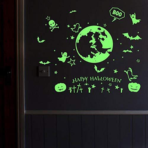 LIZHOUMIL Pegatinas de pared para Halloween, decoración para salón, dormitorio, decoración de fiestas, pegatinas luminosas que brillan en la oscuridad