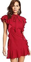 Floerns Women's Tie Neck Short Sleeve Ruffle Hem Cocktail Party Dress Red S