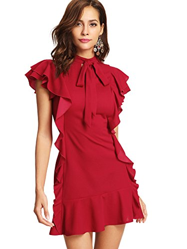 Floerns Women's Tie Neck Short Sleeve Ruffle Hem Cocktail Party Dress Red S