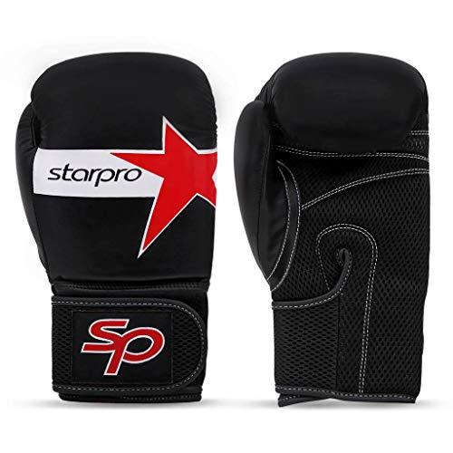 Starpro Bokshandschoenen Bokstraining Muay Thai | Handschoenen voor Kickboksen Sparring Grappling | Geweldig voor Boksen Vechtsport Thaiboksen en Bokszakken Mannen Dames Synthetisch Leer Zwart