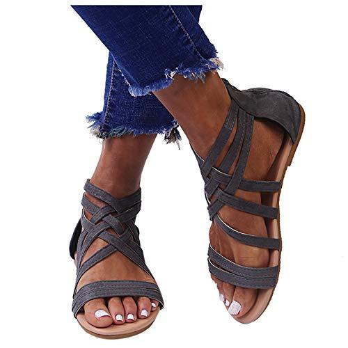 koperras Damen Sandalen Lässige Sommer Schuhe, Flache -Schuhe Elegant Freizeitschuhe Römersandalen mit Einfarbige Weichem Sohlen Strandsandalen Anti-Rutsch-Sandalen 37-42