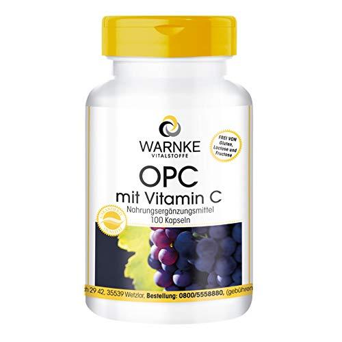 OPC con Vitamina C - 100 capsule vegane, 60mg OPC di estratto del seme dell'uva 200mg