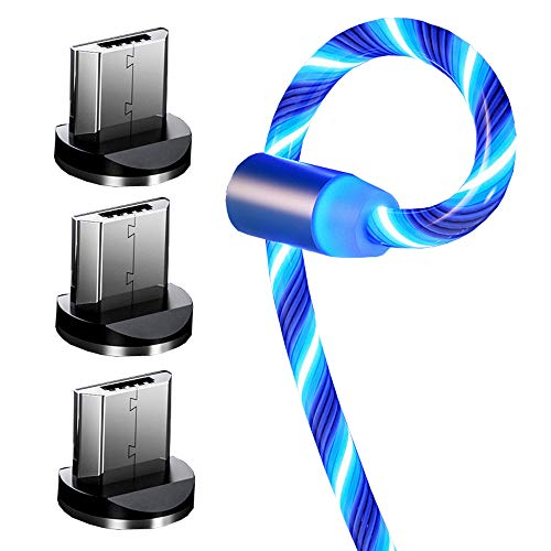Top-Longer Cable De Carga Magnética Micro USB Con LED 2.4A De Alta Velocidad Cable De Cargador De Iuz LED Fluido -Sin datos de Sincronización (1M / 3,3 pies, Azul)