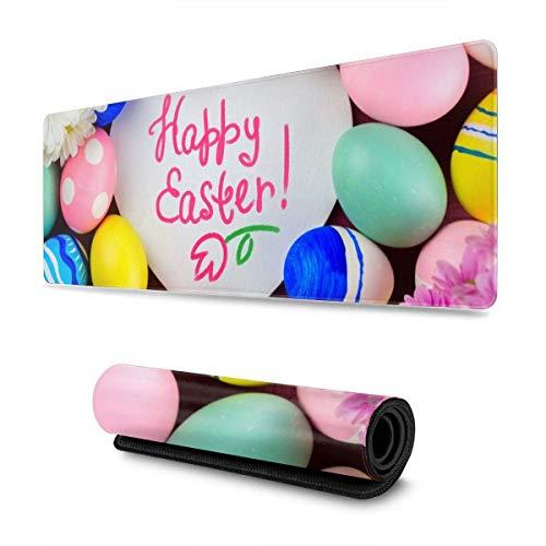 Gaming Moursepad Happy Easter Huevos de Colores Alfombrilla de ratón Grande Alfombrilla de Teclado Alfombrilla de ratón de Juego para Oficina en casa, 30 x 80 cm