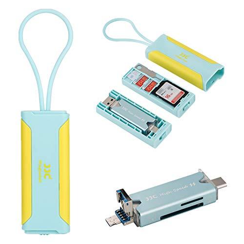 JJC 多機能 SD MSD Nano SIM カード 収納ケース 1枚SDカード + 2枚MSD / TF カード + 1枚 Nano SIM カード + 1枚 USB 3.0多機能カードリーダー (付属)+ 1枚 SIMピン(付属)収納 青+黄