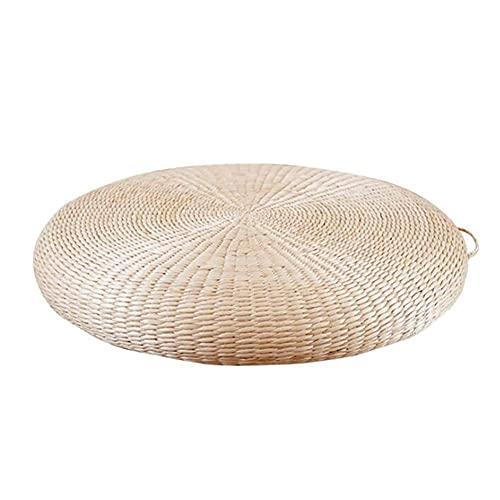 Cojín de ratán natural para el suelo, tradicional japonés, redondo, grueso, tejido de paja, transpirable, cojín de asiento, cojines para silla, almohada de meditación para el hogar, al aire libre
