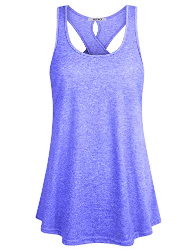 ZKHOECR Gym Shirts for Women Loose Fit Girls Sports Racerback Dry Fit Knit Tank Tops Summer Cute Sleeveless Flattering Tunics Casual Basic Zulily Clothes Over Size Blue XXL