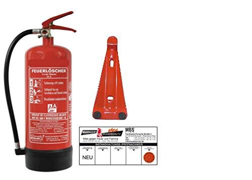 6Liter Wasser Dauerdruck-Feuerlöscher DIN EN 3, GS + Wandhalter + Manometer + Standfuß, 34 A = 10 LE Wasserlöscher mit Instandhaltungsnachweis von MBS-FIRE