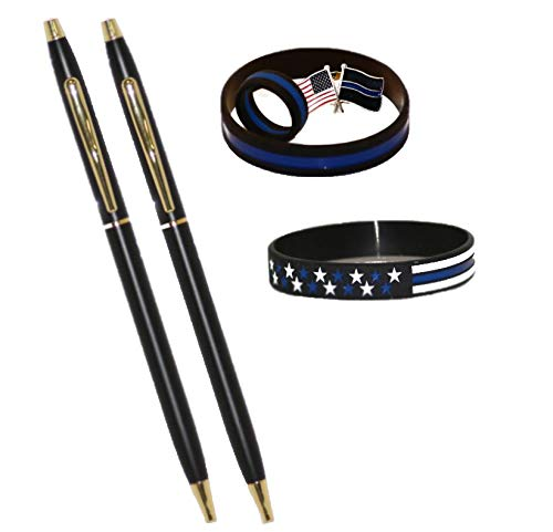 Classic Black and Gold Police Uniform Pens | Police Gift | Thin Blue Line Gift Pack | Size 10 Thin Blue Line Silicone Ring | Thin Blue Line Lapel Pin | Police Wristbands | Pens for Men and Women