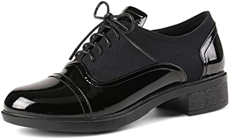MENGLTX High Heels Sandalen Neue Frauen-Grundlegende Pumpen-Echtes Leder-Quadrat-Fersen-Schuhe Frühlings-Herbst-Runde Zehen-Pumpen Kreuz-Gebundene Kurze Schuhe Frau
